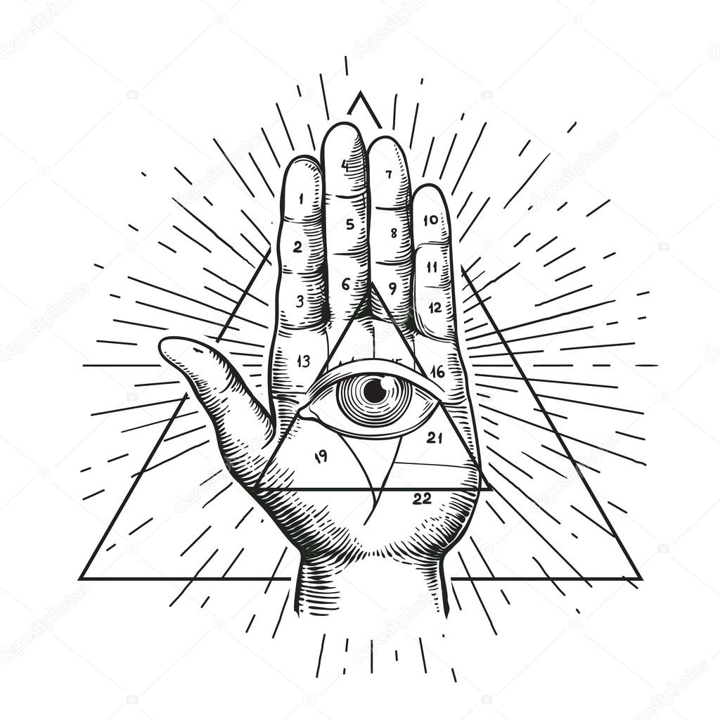 1024x1024 Hipster Illustration With Sunburst, Hand, And All Seeing Eye