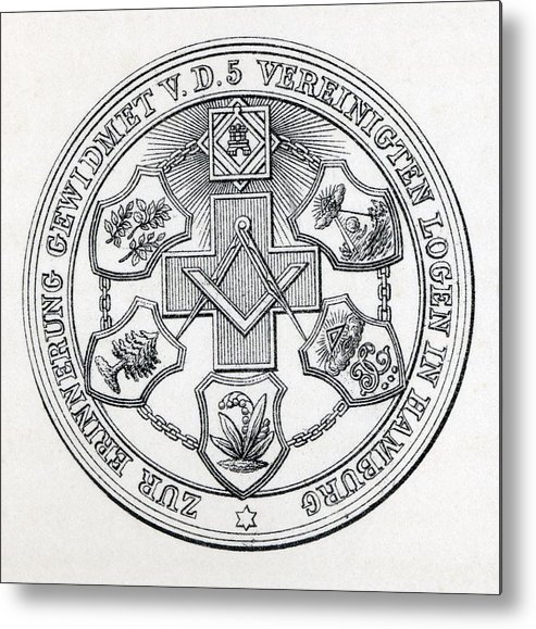 493x579 Masonic Seal Engraving From The Book Metal Print By Vintage Design