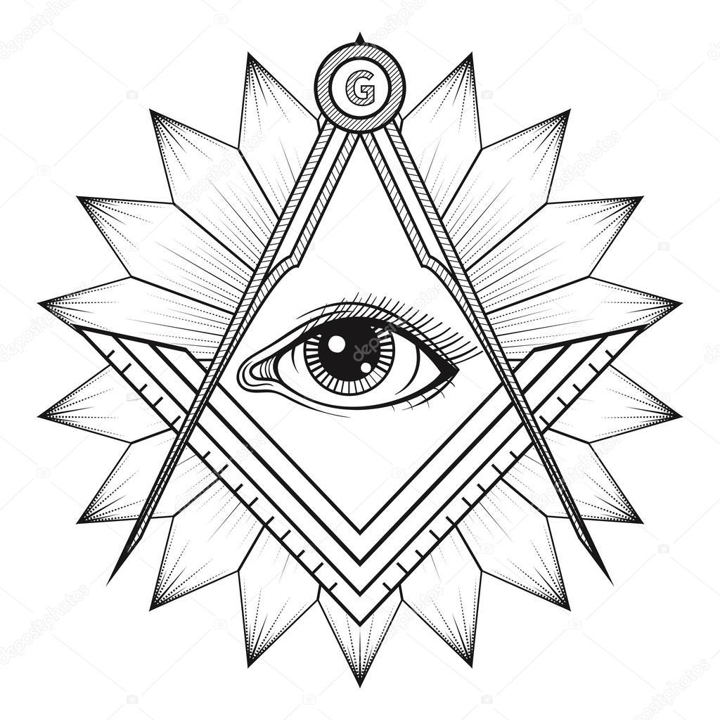 1024x1024 Masonic Square And Compass Symbol, Freemason Sacred Society Embl