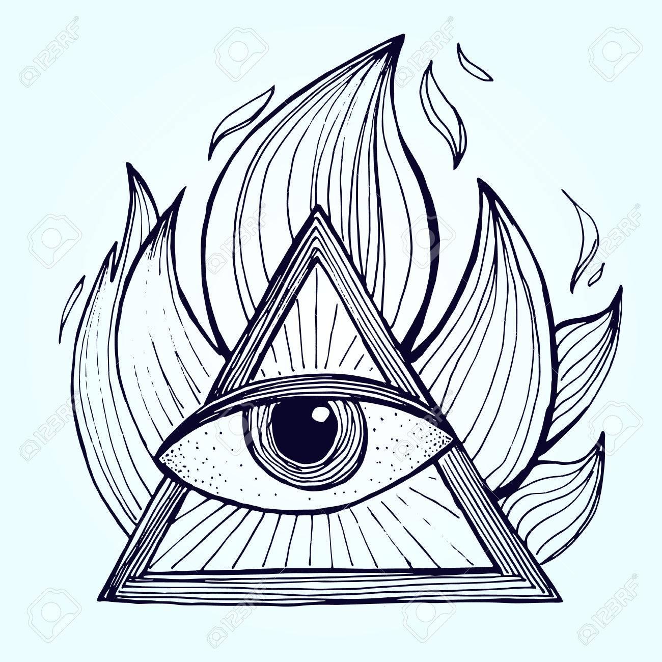 1300x1300 An Eye With Pyramid In Fire On Background. Alchemy Masonic Symbol