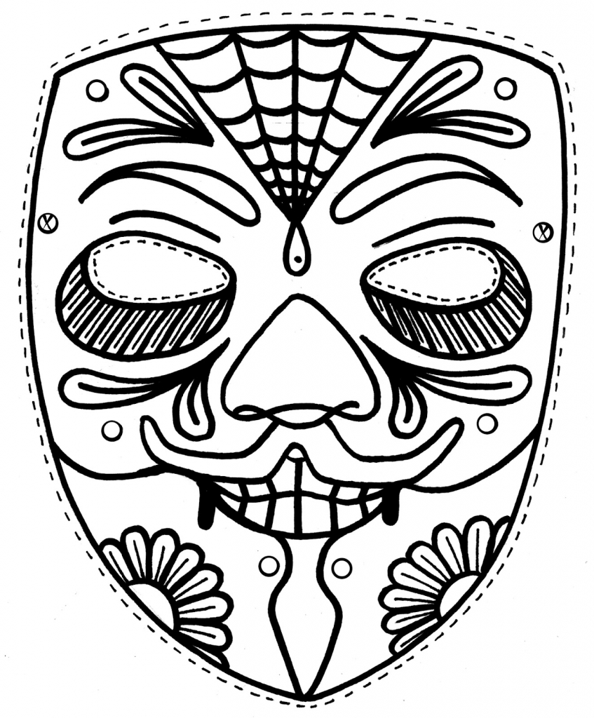 847x1024 Free Printable Masks Coloring Pages Colouring In Amusing Draw