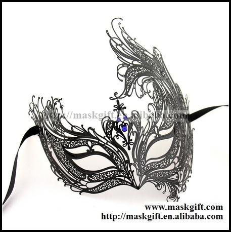 457x458 Perfect!!! Luxury Black Theme Party Masks Mysterious Phoenix Blue