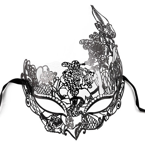 500x500 Princess Costume Mask Black Masquerade Mask Black M35001