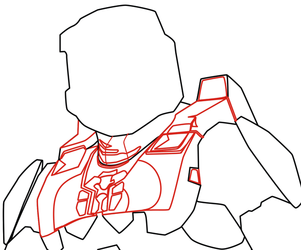 600x499 How To Draw Master Chief From Halo In Step By Step Drawing