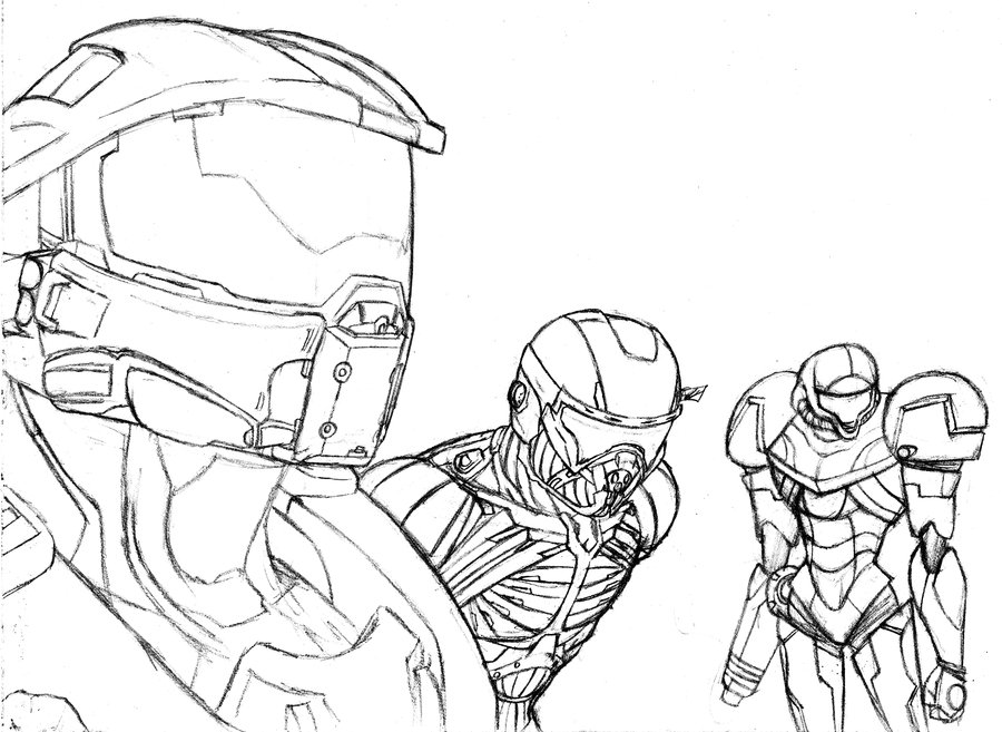 900x657 Master Chief, Nomad, And Samus By Amrock