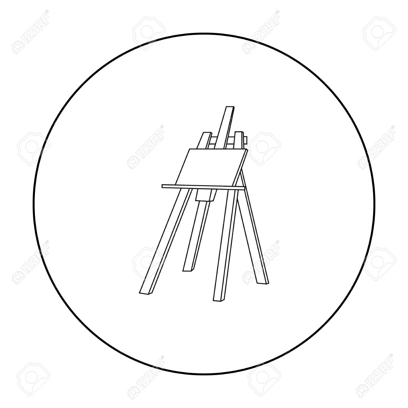 1300x1300 Easel With Masterpiece Icon In Outline Style Isolated On White