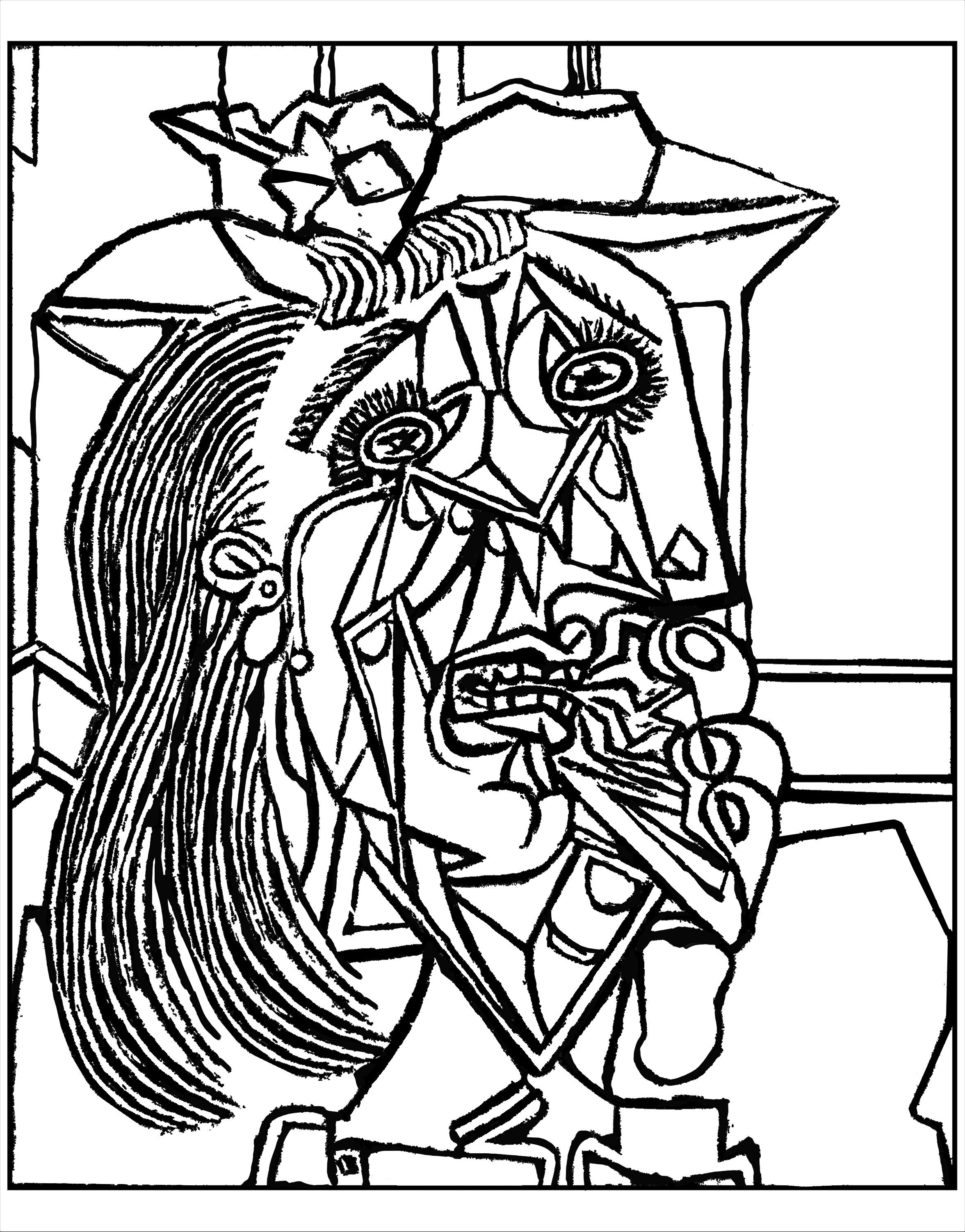 2353x3005 Free Coloring Page Coloring Adult From Picasso Weeping Woman 1937