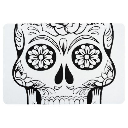 422x422 Skull Drawing With Black Ink In White Background Floor Mat