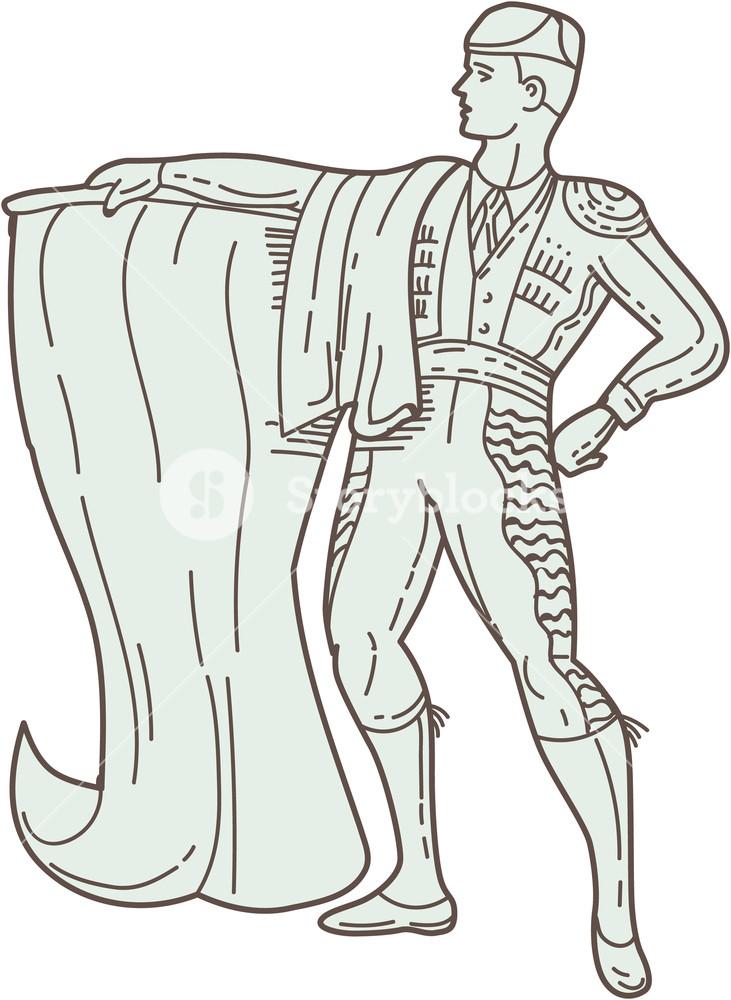 731x1000 Mono Line Style Illustration Of A Spanish Matador Holding Cape