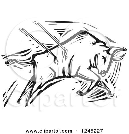 450x470 Clipart Of A Black And White Woodcut Matador With A Cape