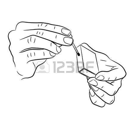 450x450 Hand Holding A Match And Box Of Monochrome Vector Illustration