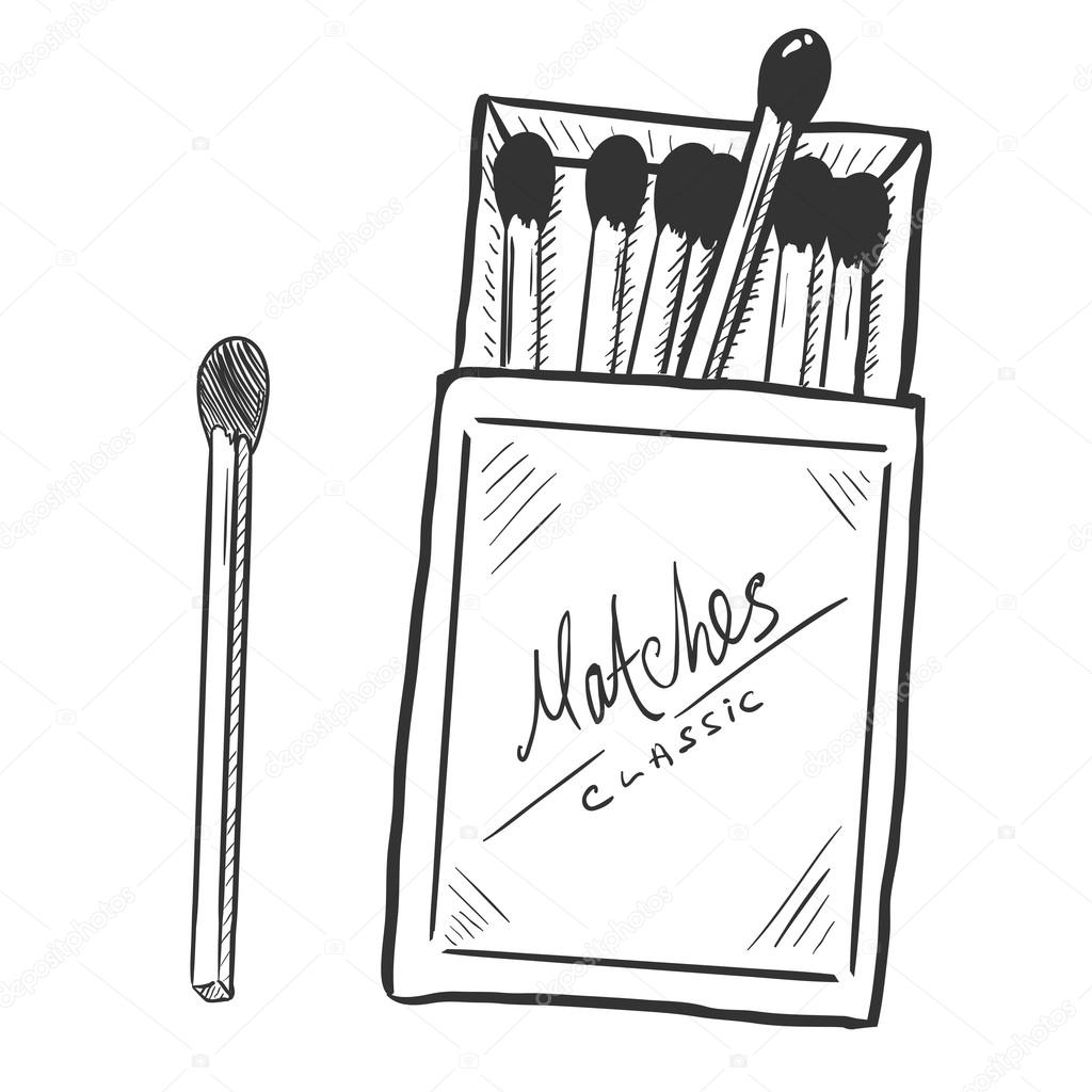 1024x1024 Open Matchbox With Matches Stock Vector Nikiteev
