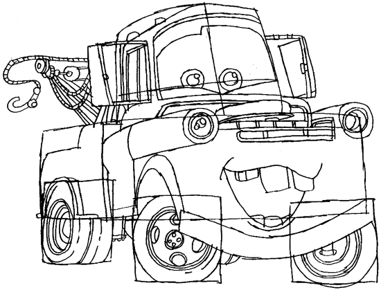 550x419 How To Draw Tow Mater From Disney Cars Movie