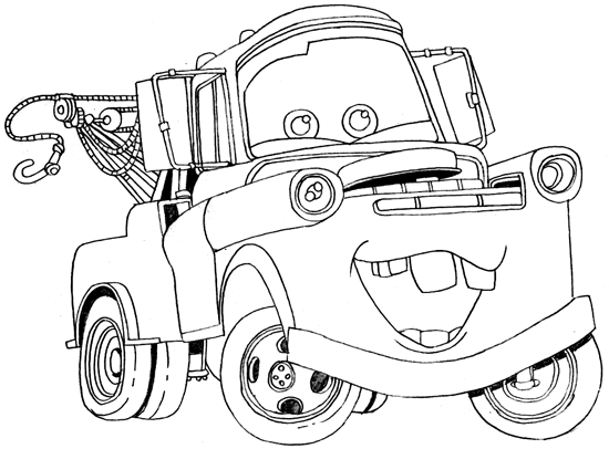 550x406 How To Draw Tow Mater From Disney Cars Movie Coloring Pages
