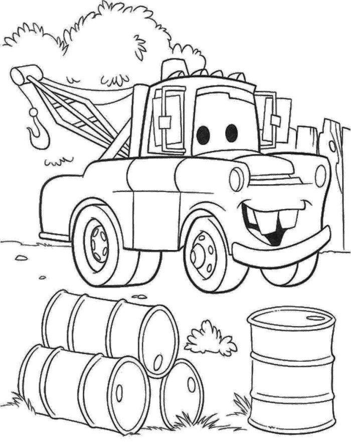 700x881 Disney Cars Mater Coloring Pages Colouring For Pretty Draw
