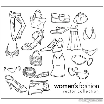 426x426 4 Designer Wearing Female Clothing Items Line Drawing Vector