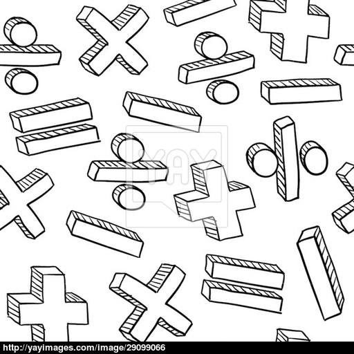 512x512 Seamless Math Symbols Vector Background
