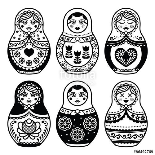 500x500 Matryoshka, Russian Doll Icons Set Stock Image And Royalty Free