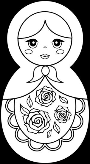 302x550 Matryoshka Doll Coloring Page