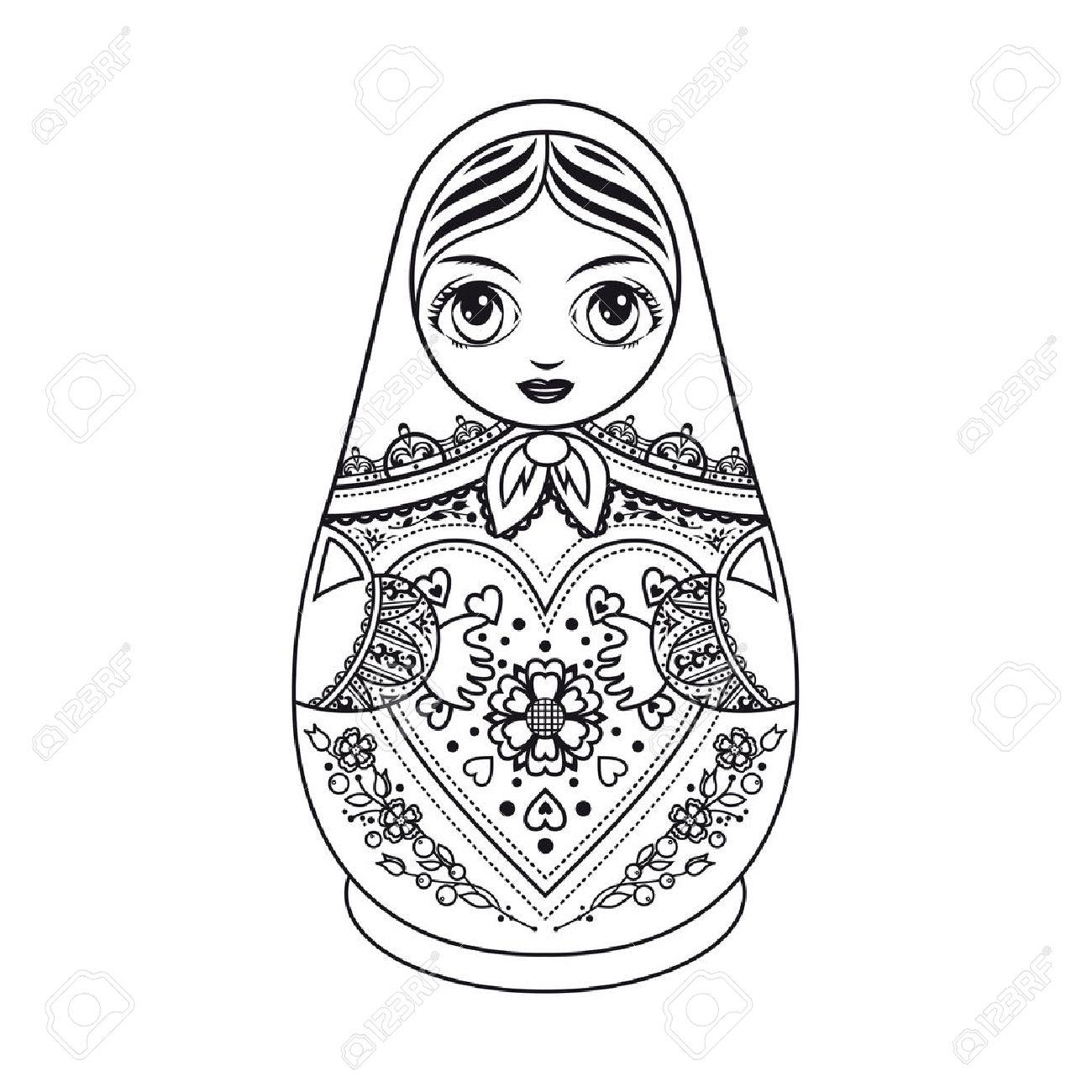 1300x1300 Matryoshka. Russian Folk Nesting Doll. Babushka Doll Royalty Free