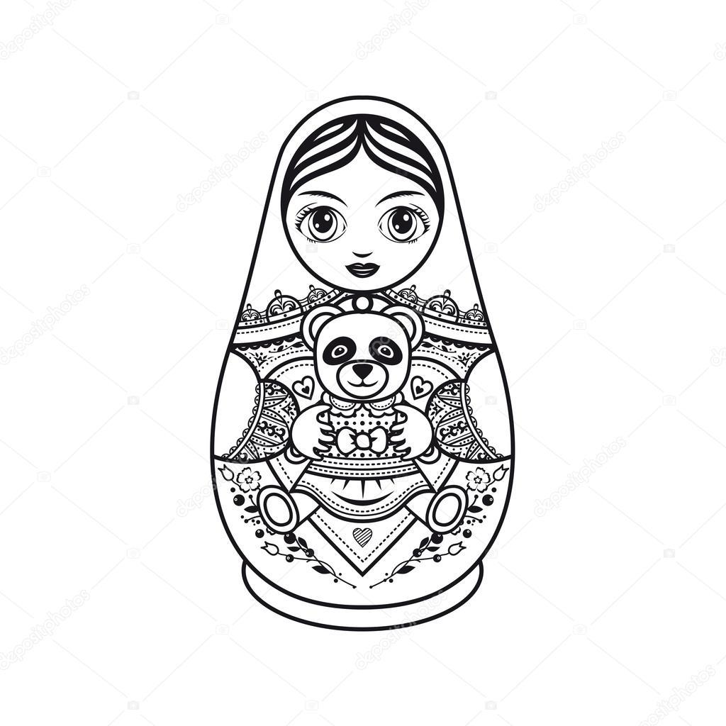 1024x1024 Matryoshka. Russian Folk Nesting Doll. Babushka Doll. Vector