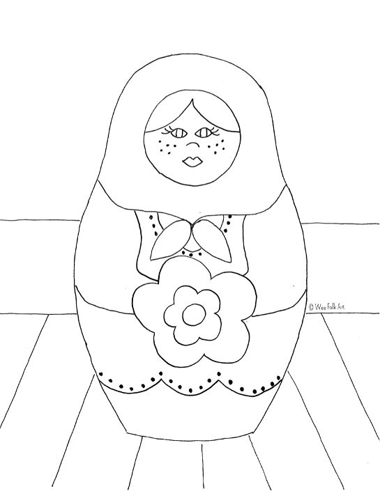 545x705 Russian Nesting Dolls Coloring Page