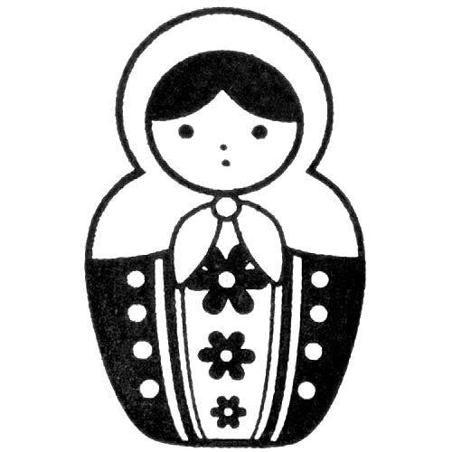 500x500 Cute Matryoshka Stamp Doll Dots Flowers No7
