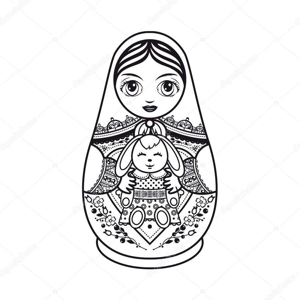 1024x1024 Matryoshka. Russian Folk Nesting Doll. Babushka Doll. Stock