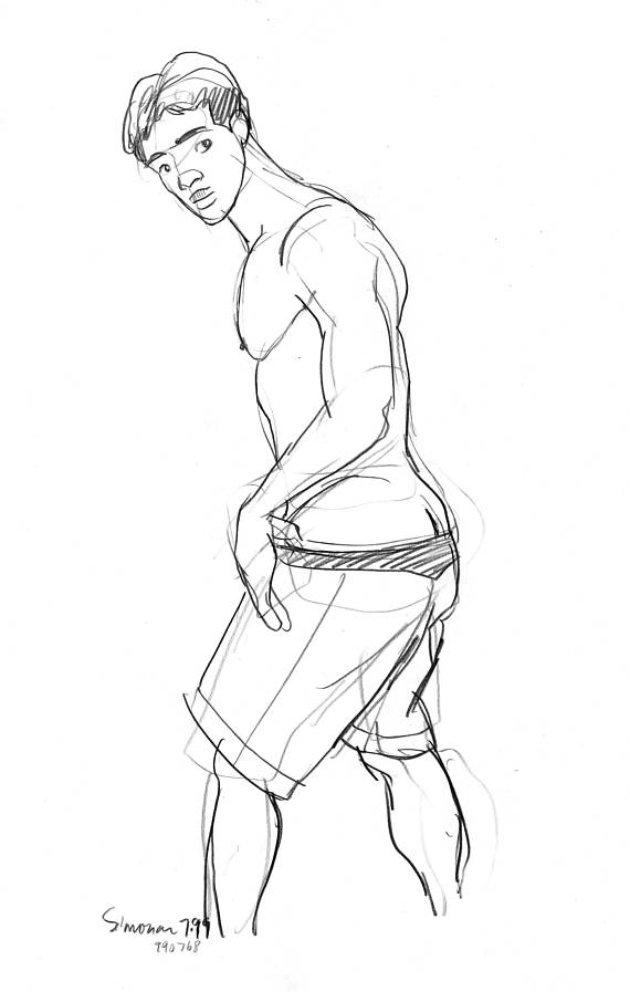570x897 990768 Taking Off His Shorts 11x17 Male Nude Drawing Mature