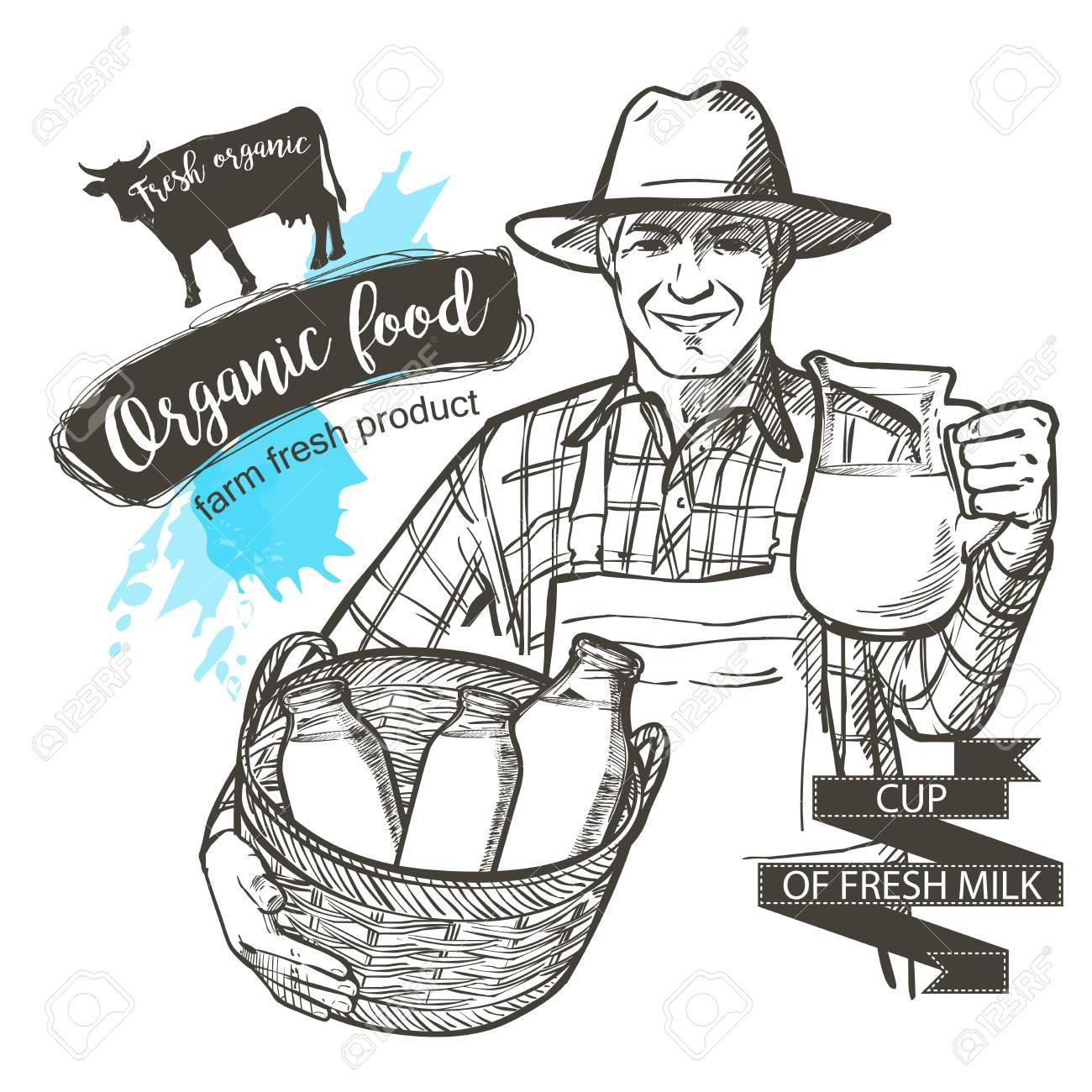 1300x1300 Portrait A Mature Farmer Carrying A Jar And Basket Full