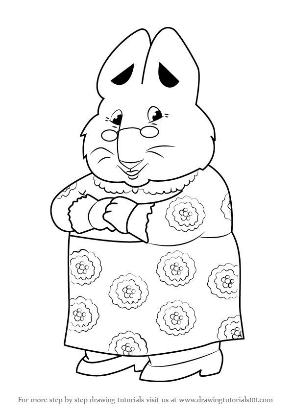 596x843 Learn How To Draw Grandma From Max And Ruby (Max And Ruby) Step By