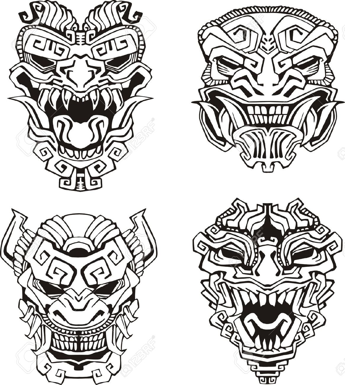 1165x1300 16729496 Aztec Monster Totem Masks Stock Vector Maya.jpg (1165