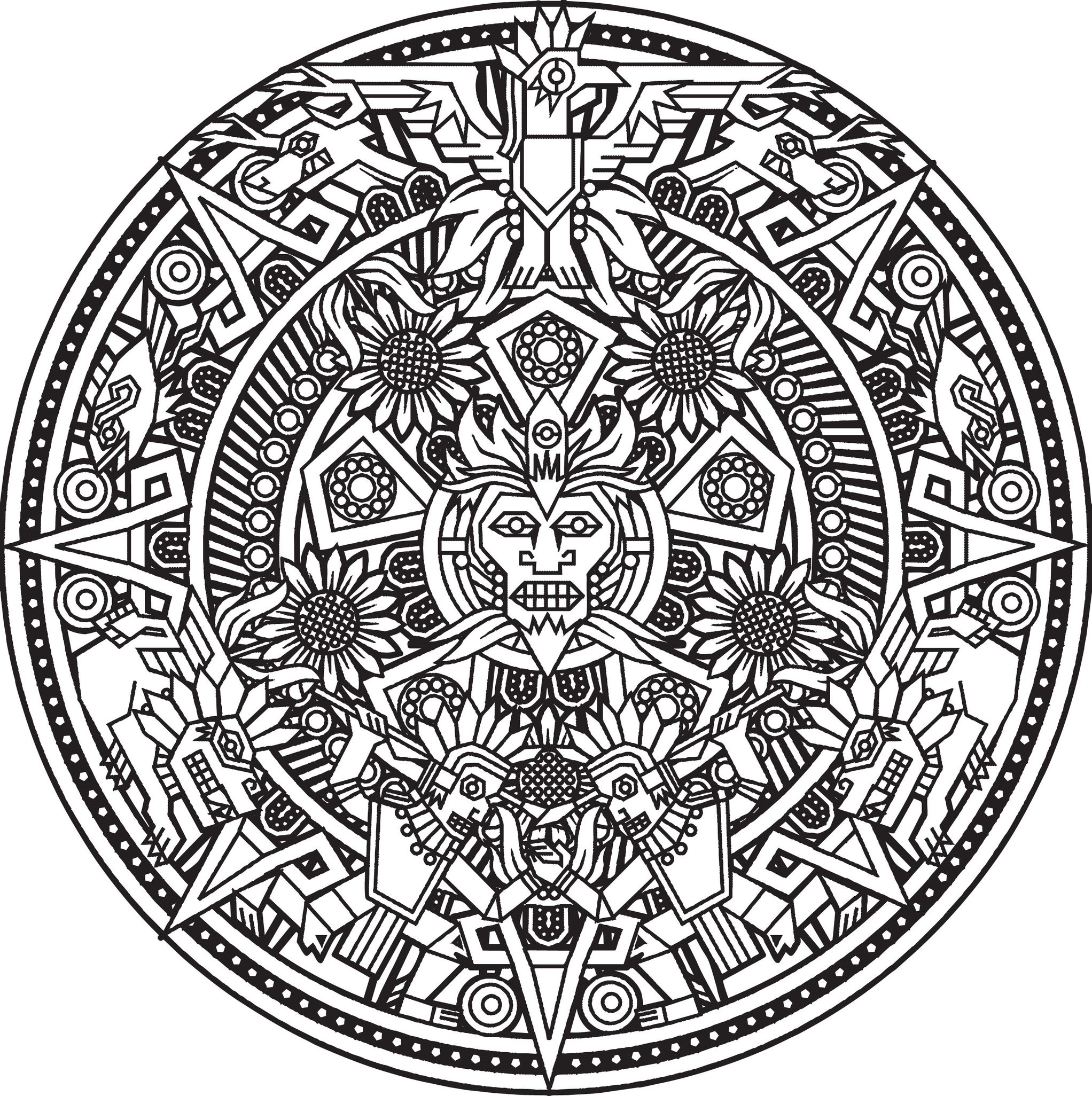 2044x2052 Mandala Inca Or Maya God To Color By Bigredlynx Mandalas