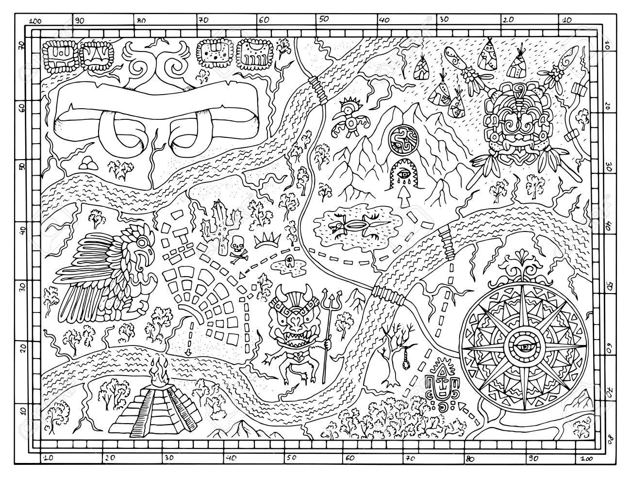 1300x985 Ancient Maya Or Pirate Map For Adult Or Kids Coloring Book. Hand