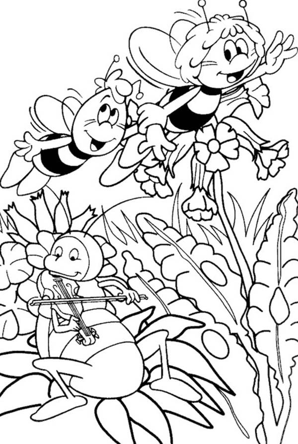 600x893 Maya The Bee And Willy Meet Musician Flip The Grasshopper Coloring
