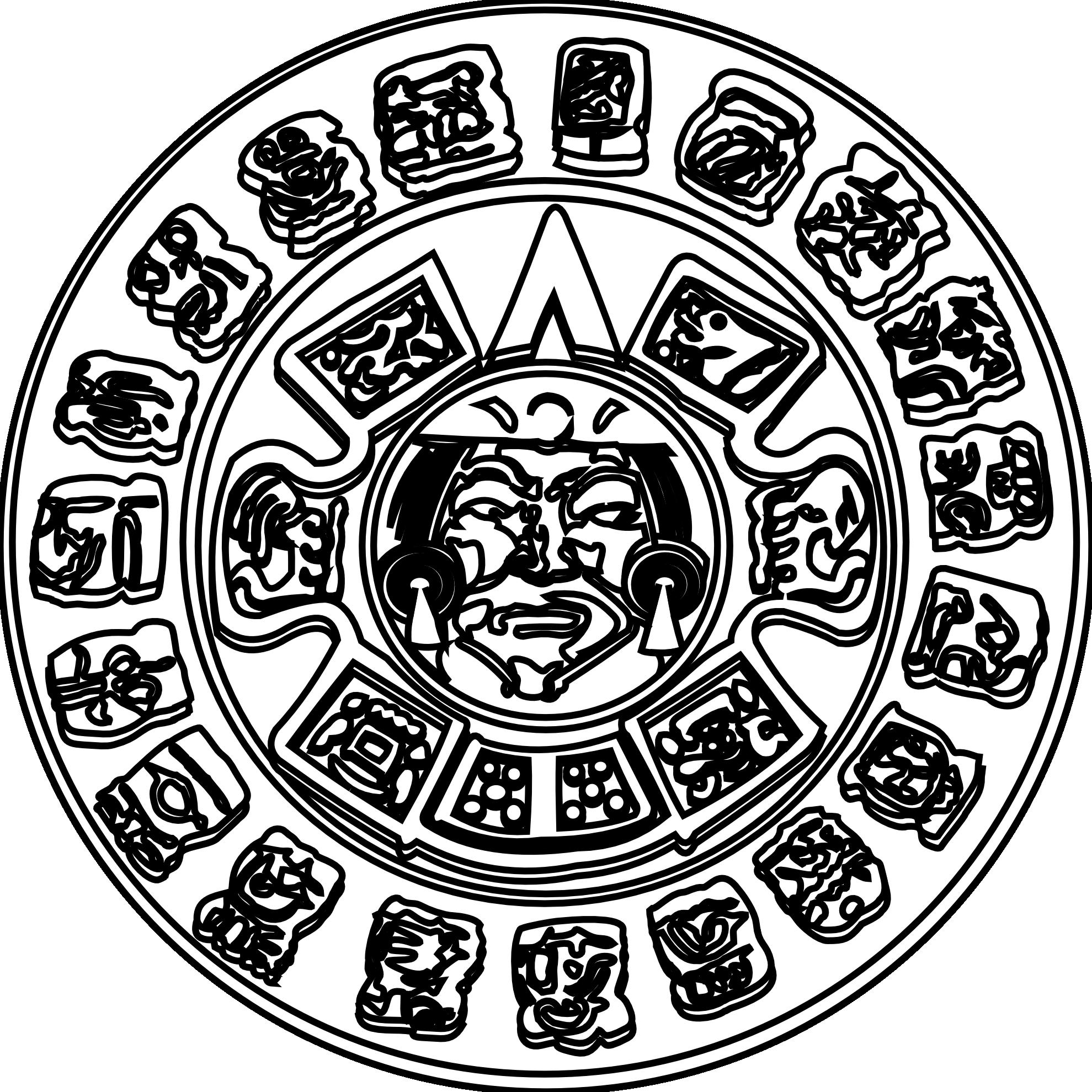 Mayan Sun Coloring Page