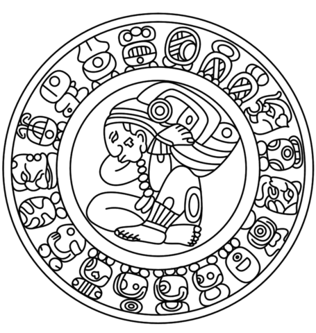 455x480 Mayan Calendar Coloring Page Free Printable Coloring Pages