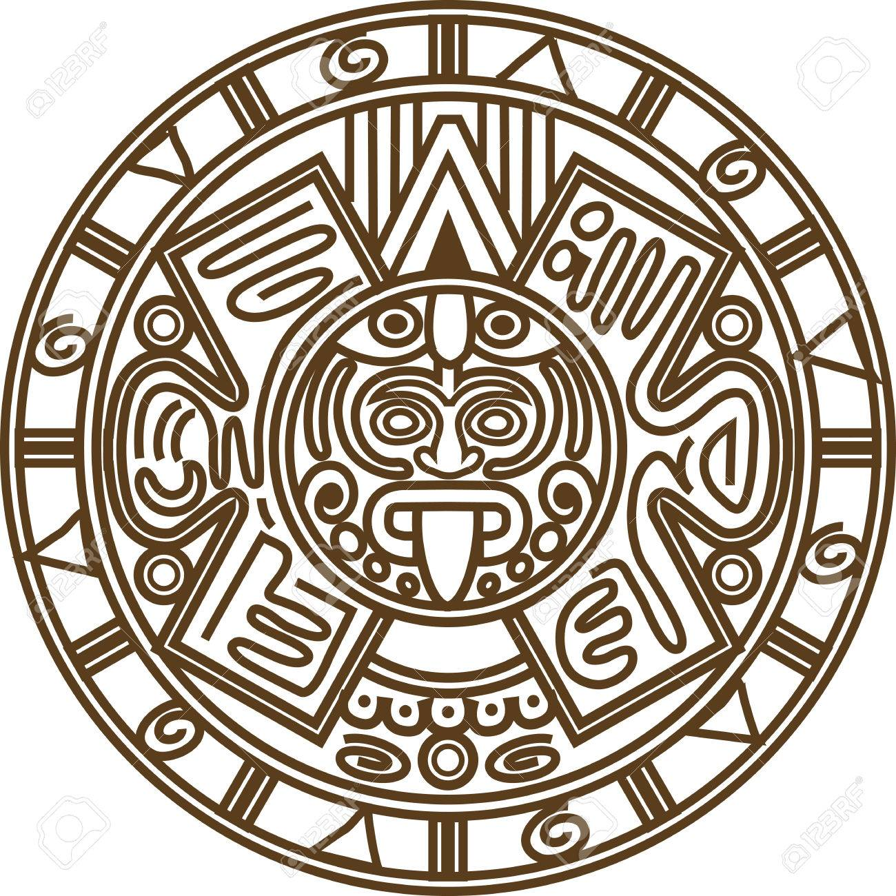 1300x1300 Vector Illustration Stylized Image Of Ancient Mayan Calendar