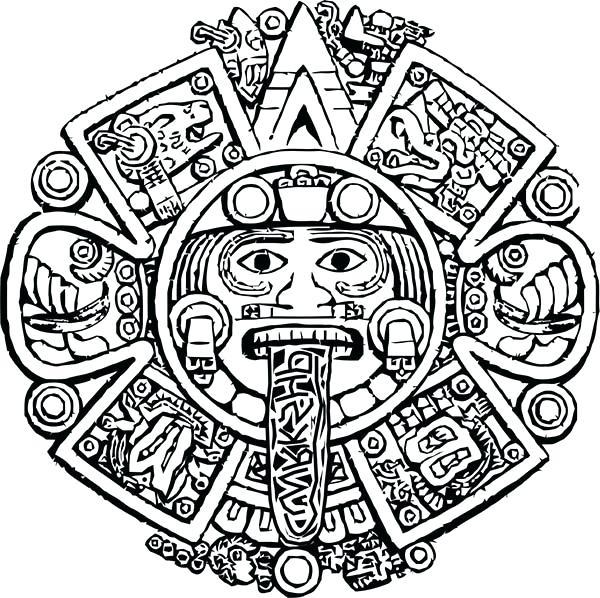 600x598 Aztec Coloring Pages Calendar Stone Coloring Pages Aztec Art