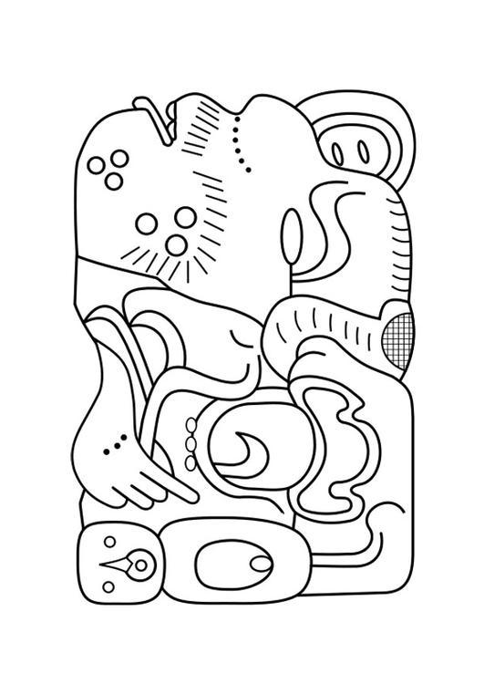 531x750 Coloring Page Mayan Art