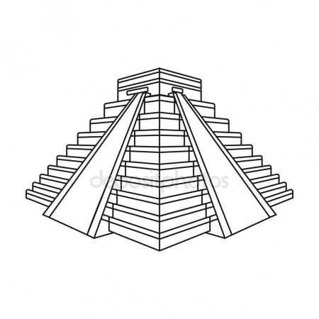450x450 Mayan Pyramid In Yucatan, Mexico Icon, Simple Style Stock Vector