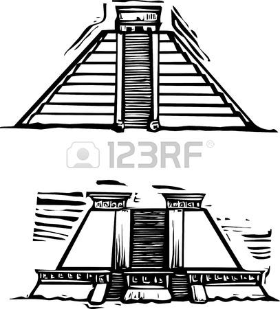 407x450 Woodcut Style Image Of The Mayan Pyramids At El Tajin And Chichen
