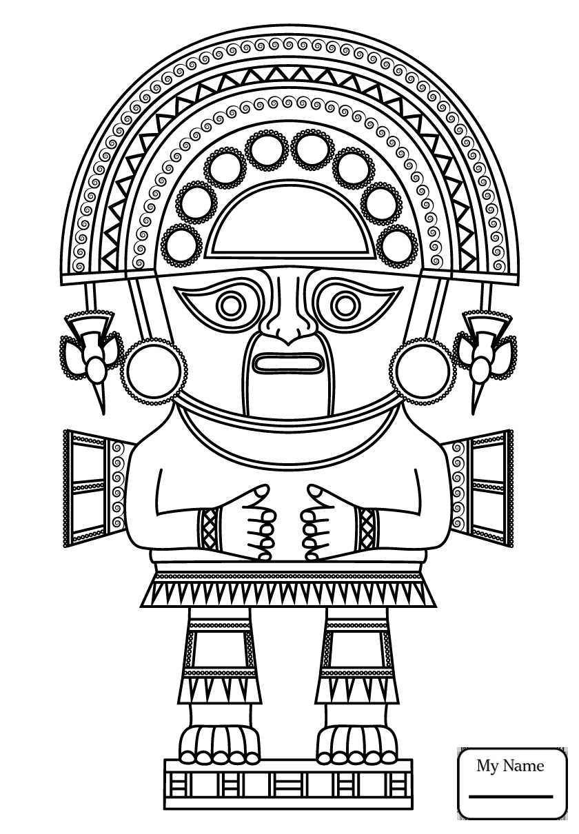 840x1210 Coloring Pages History 7th Maya Month Yaxk