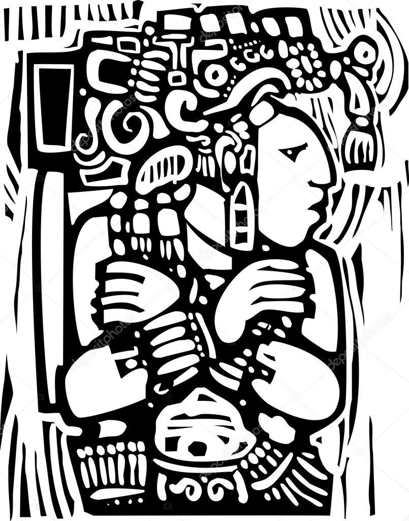 805x1024 Mayan Woodcut Style 3 Stock Vector Xochicalco