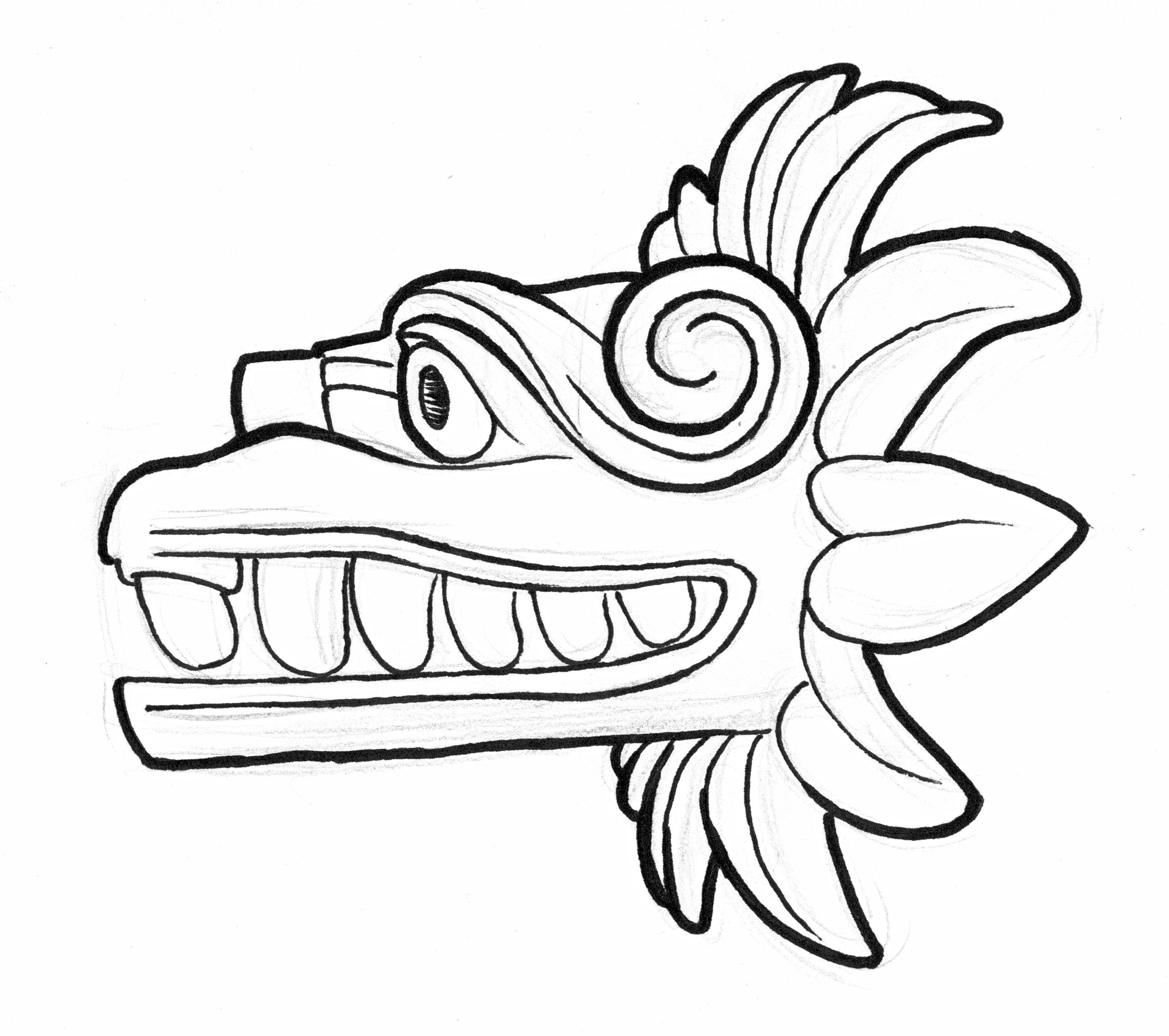 3416x3028 Quetzalcoatl Squiggly Bastard Crafts Aztec Art