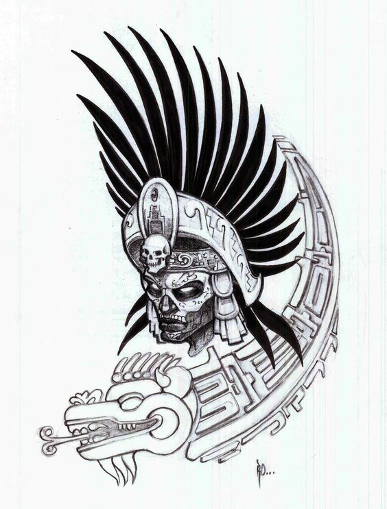 564x743 Aztec Warrior Drawing Black White Aztec Warrior By Ralfelor I5wh10