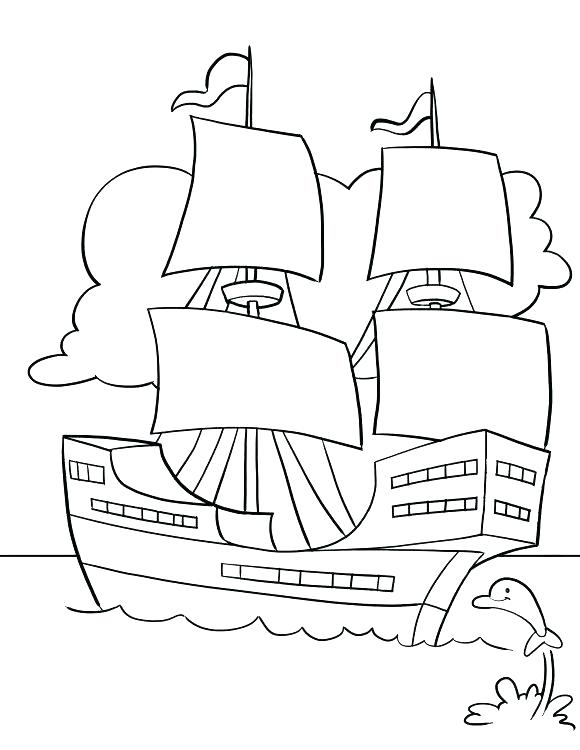 580x750 Mayflower Coloring Page Free Chef First Thanksgiving Compact