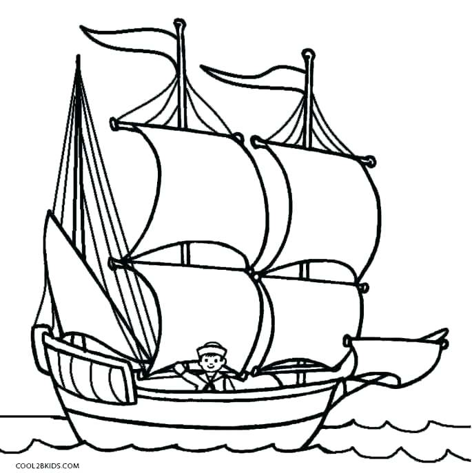 685x687 Mayflower Coloring Pages Fishing Boat Printabl On The First
