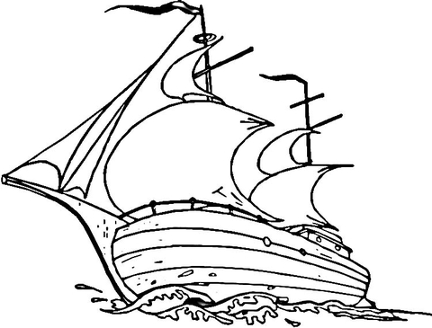 480x365 Mayflower Ship Coloring Page Free Printable Coloring Pages