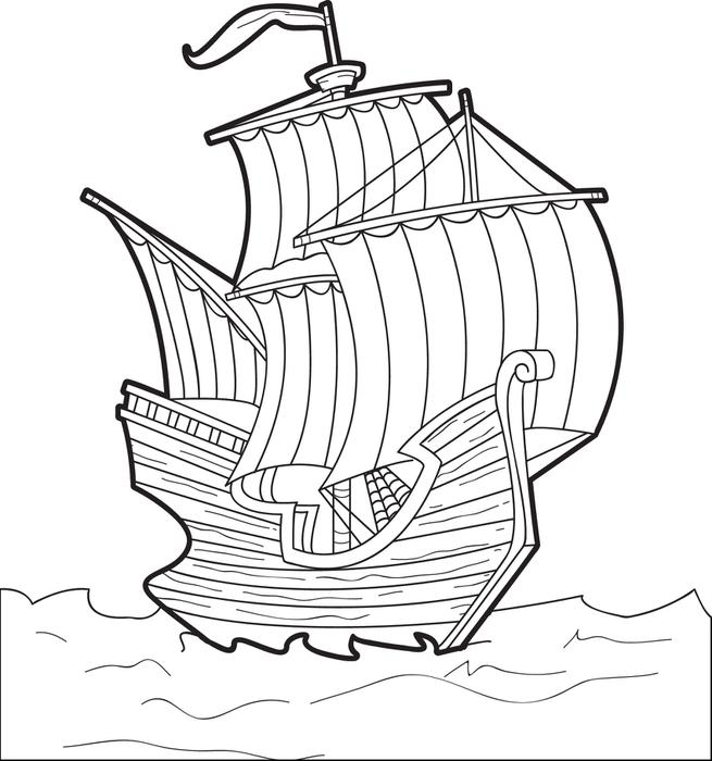 655x700 The Mayflower Free Printable Thanksgiving Coloring Page For Kids
